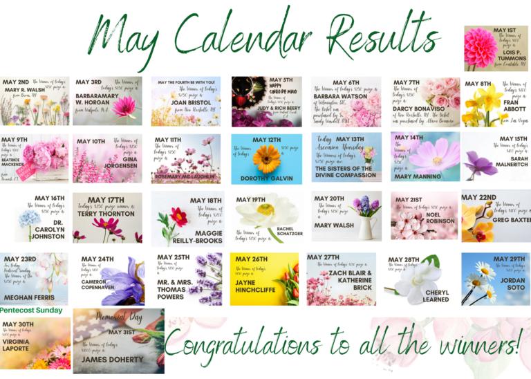 May Calendar Winners